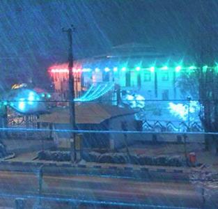 شهرداری خمام در یک شب برفی