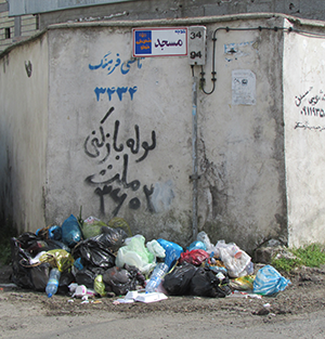 ورودی کوچهی مسجد، محل تجمیع زباله!