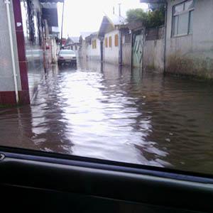خمام - آبگرفتگی خیابان بوعلی پس از بارشهای اخیر