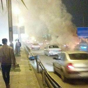 خمام - تصویر / آتش گرفتن خودروی پژو پارس