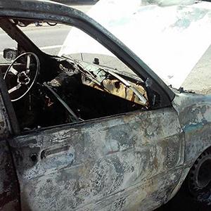 آتش گرفتن خودروی پراید در روستای کلاچاه دوم
