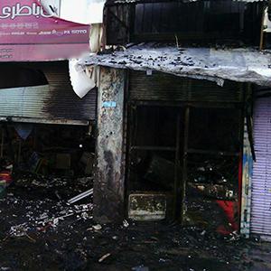 خمام - ۵ باب مغازه در روستای اشکیک طعمه حریق شد