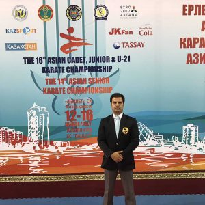 خمام - داور خمامی در رقابتهای لیگ جهانی کاراته به قضاوت میپردازد