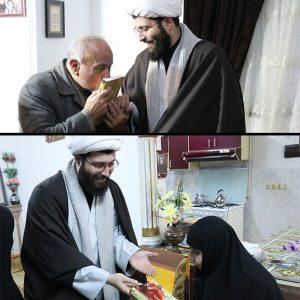 خمام - کتاب سیمای خوبان به خانوادههای شهید ابراهیمنژاد و شهید عابدیراد اهدا شد