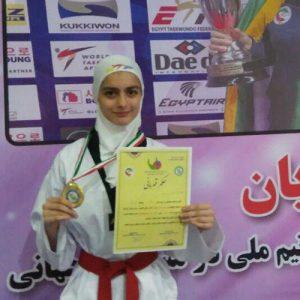 خمام - قهرمانی رقیه یوسفیزاده در مسابقات تکواندو نوجوانان دختر استان گیلان