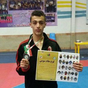 خمام - مرتضی رضاصفت به مدال برنز رقابتهای قهرمانی تکواندوی نوجوانان گیلان دست یافت