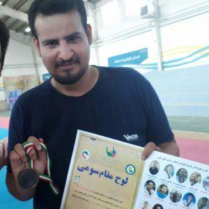 خمام - حسین گلزار به مقام سوم مسابقات تکواندو قهرمانی جوانان و بزرگسالان گیلان دست یافت