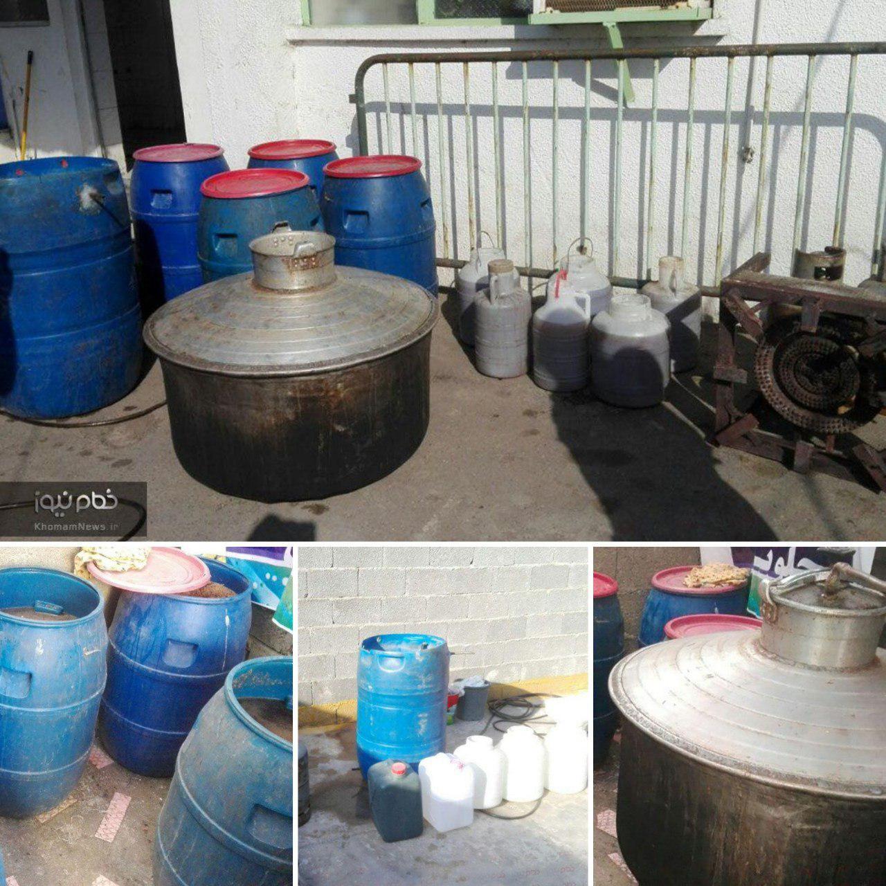 ۱,۴۰۰ لیتر مشروبات الکلی در یک کارگاه خانگی کشف و ضبط شد