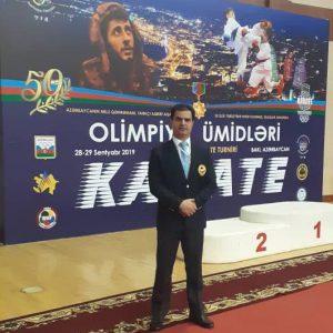 خمام - قضاوت علیرضا نوروزی در رقابتهای انتخابی کاراته امیدهای المپیک جمهوری آذربایجان