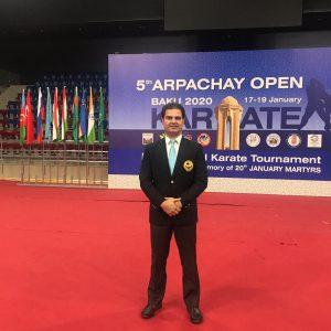 خمام - علیرضا نوروزی در رقابتهای بینالمللی کاراته آزاد باکو به قضاوت پرداخت