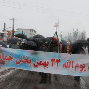 خمام - راهپیمایی مردم خمام زیر بارش برف در ۲۲ بهمن