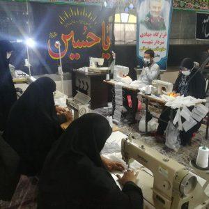 خمام - تولید ۳,۵۰۰ عدد ماسک در قرارگاه جهادی شهید سلیمانی / فعالیت بیشاز ۵۰ نفر در ۵ کارگاه