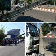 برخورد کامیونت با تیر، برق مناطقیاز شهر را قطع کرد