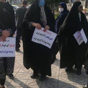 خمام - تجمع اهالی کوی ولیعصر در اعتراض به عدم برخورداری از آسفالت