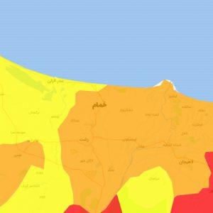 خمام - رنگبندی شهرستان خمام نارنجی شد