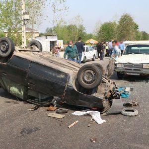 خمام - واژگونی خودروی پراید در کمربندی