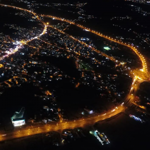 خمام - تصاویر هوایی از شهر خمام در شب